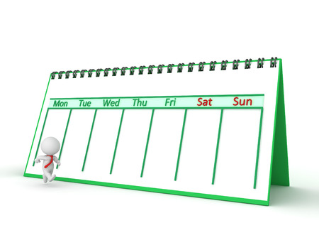A 3D character wearing a red tie, running next to a calendar marking the days of the week. Isolated on white background. photo