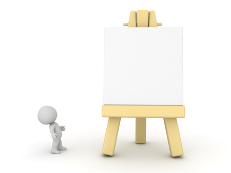 3d small people: A 3D character looking up at a large art easel. Isolated on white background.