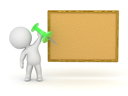 corkboard: 3D Character Holding Pin for Corkboard Stock Photo
