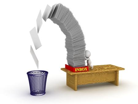 3D Character Pushing Inbox Papers in den Papierkorb