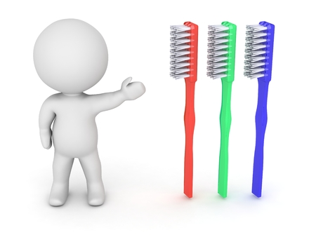 3d character: 3D Character Showing Tooth Brush