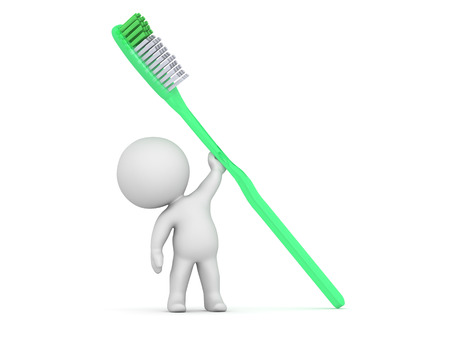 hygene: A 3D character holding a large green toothbrush. Isolated on white background.