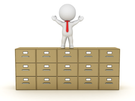 archiving: A 3D character standing with his arms up on a large archiving cabinet. Isolated on white background.