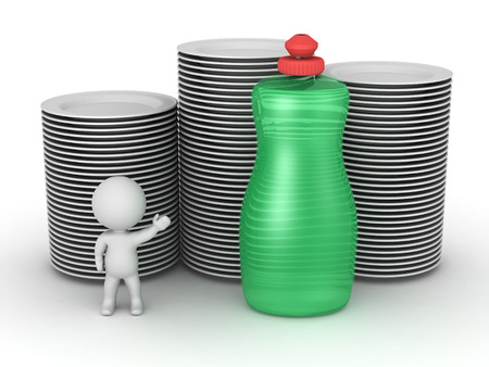 grease: A 3D character showing a bottle of dish soap and stacks of clean plates. Isolated on white background.