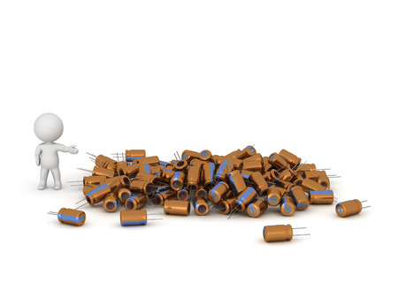 capacitor: A 3D character showing a pile of electronic capacitors. Isolated on white background.