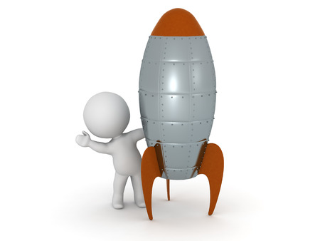 A 3D character waving from behind a rocket. Isolated on white background. Reklamní fotografie