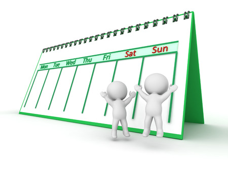 workday: Two 3D characters jumping up for joy next to Saturday and Sunday on a week calendar. Isolated on white background.
