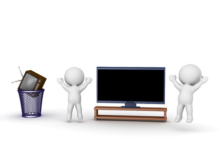 Two 3D characters jumping up cheering next to a large HD television, and an old retro television set is in the trash. Isolated on white background. Stock Photo