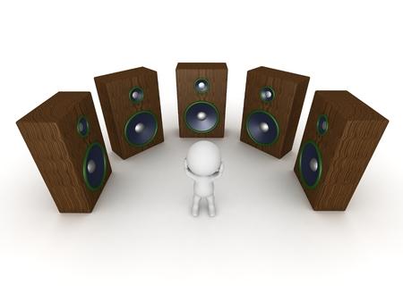 loud speakers: 3D Character stressed by loud speakers