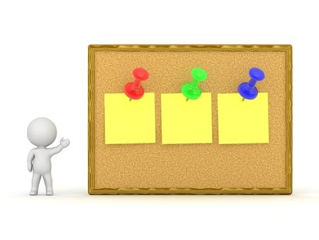 cork: 3D Character Showing Cork Board With Three Notes Stock Photo