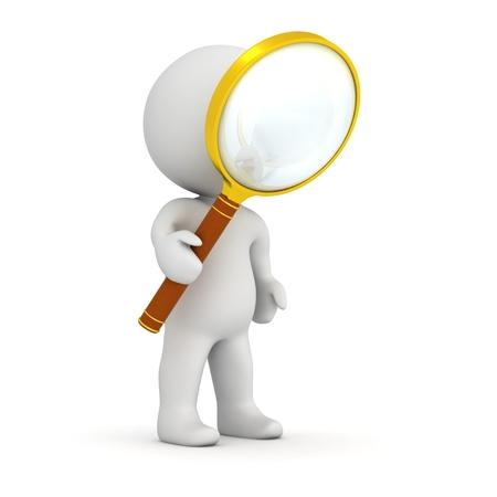 虫眼鏡で 3 D キャラクター 写真素材
