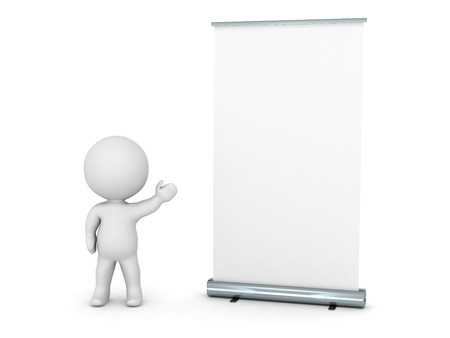 rollup: 3D Character Showing Roll-Up Poster Stock Photo