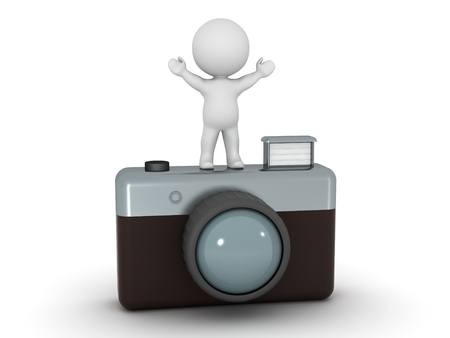 arm raised: 3D Character Standing with Arms Up on top of large photo camera Stock Photo