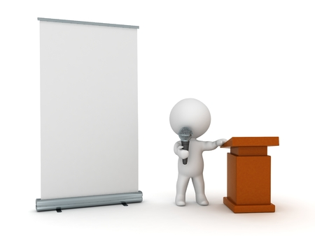 lectern: 3D Character Public Speaker with Roll-Up Poster Stock Photo