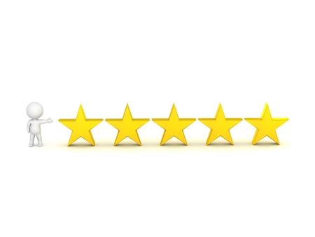 3D Character Zeige 5 Sterne - Top Rating-Konzept