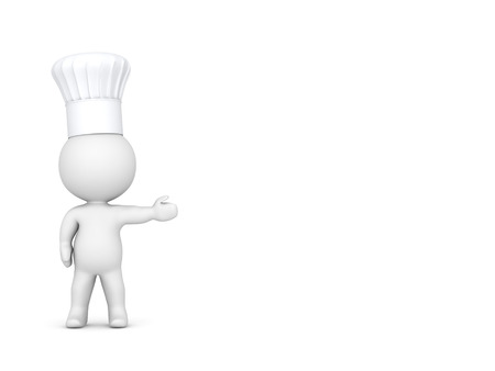 3d character: 3D Character with Chef Hat Showing Stock Photo