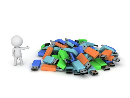 showing: 3D Character Showing Pile of USB Sticks Stock Photo