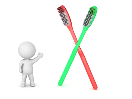 hygene: 3D Character Showing Two Toothbrushes Stock Photo