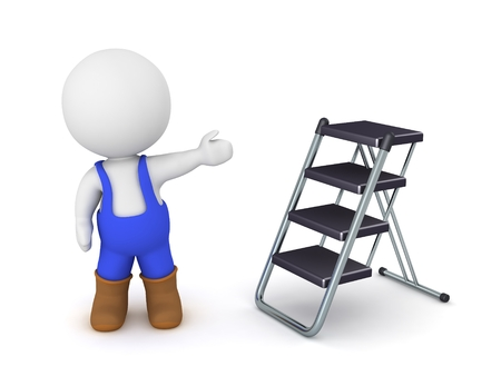 3D Character wearing overalls showing foldable ladder Stock Photo