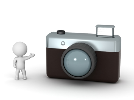 3d character: 3D Character Showing Photo Camera