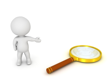 3d character: 3D Character Showing Magnifying Glass Stock Photo