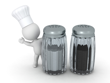 3D Character Wearing Chef Hat Waving from behind Salt and Pepper