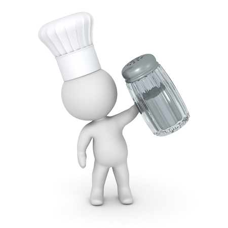 chef 3d: 3D Character Wearing Chef Hat Holding Salt Stock Photo