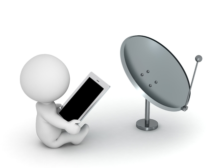 broadcast: 3D Character with Tablet and Broadcast Antenna Stock Photo