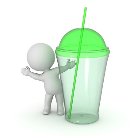 3d character: 3D Character Waving from Behind Green Glass Cup with Straw Stock Photo