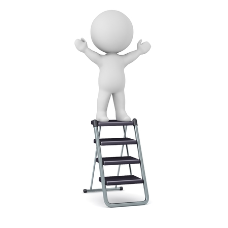 3d character: 3D Character Standing on Step Ladder