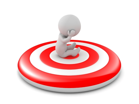 3d character: 3D Character Sitting on Bullseye Target Stock Photo