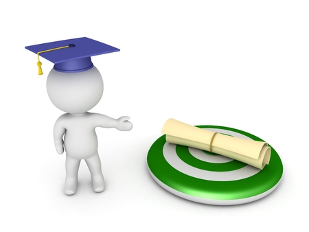 intention: 3D Character Showing Target with Diploma