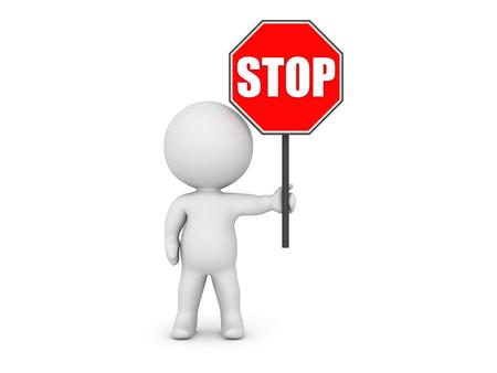 hinder: 3D Character Holding Stop Sign