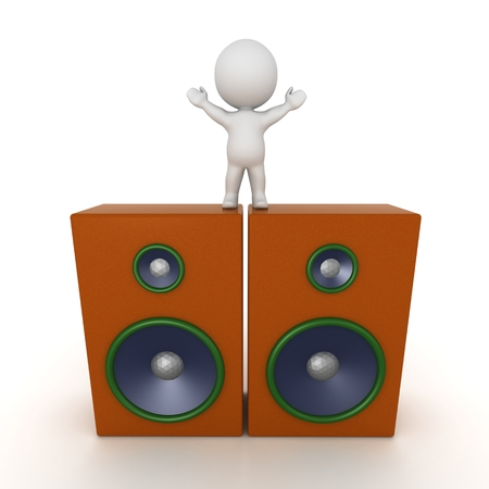 3d character: 3D Character Standing on Two Large Speakers