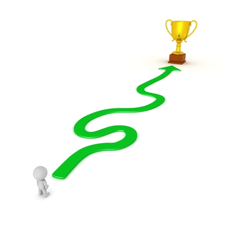 3D Character and Winding Path to Success Gold Trophy 版權商用圖片 - 39771485