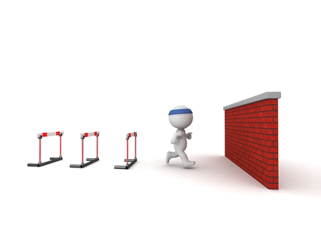 breakthrough: 3D Character jogging toward hitting a wall