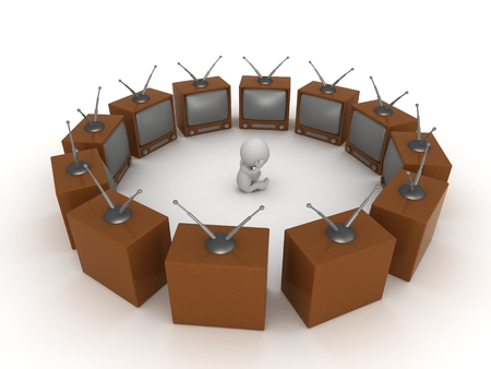 overload: 3D Character Surrounded by TVs Stock Photo