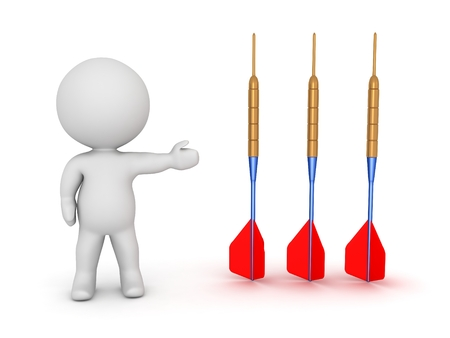 pointed arrows: 3D Character Showing Three Dart Arrows Stock Photo
