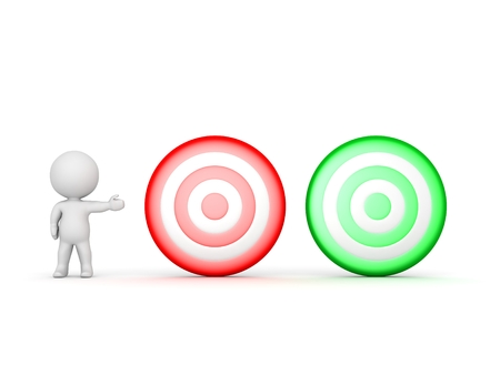 targets: 3D Character Showing Red and Green Targets