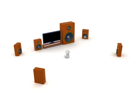 hdtv: 3D Character with HDTV and Surround Sound Speakers