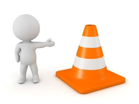 3d character: 3D Character Showing Orange Road Cone