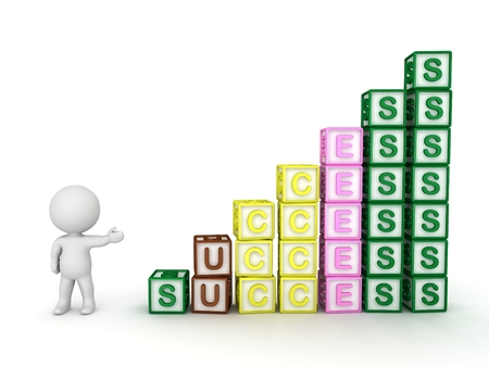 progressive: 3D Character Showing Progressive Stacks of Letter Blocks Spelling Success Stock Photo