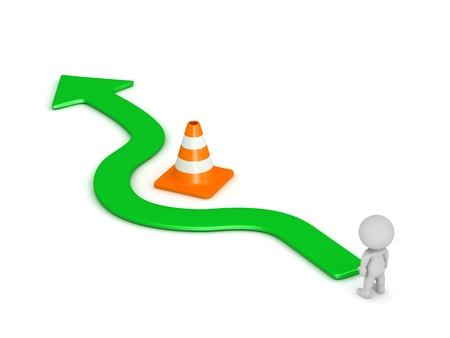 off path: 3D Character and Arrow Going Around Orange Road Cone Obstacle