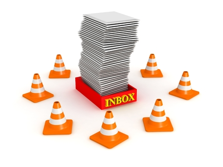 traffic barricade: 3D Inbox Surrounded by Orange Cones