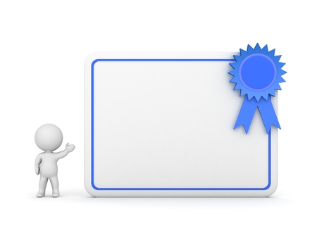 baccalaureate: 3D Character Showing Diploma with Blue Ribbon Stock Photo