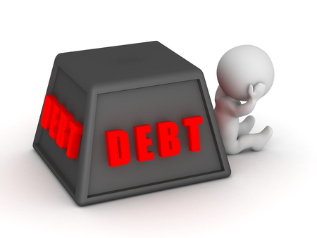 indebtedness: 3D Character Upset by Debt Stock Photo