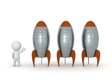 booster: 3D Character Showing Three Rockets