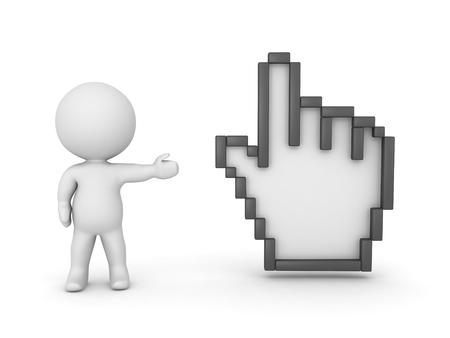 mouse cursor: 3D Character Showing Large Hand Cursor