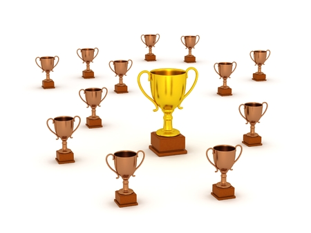 accolade: 3D Small Bronze Trophy and Large Gold Trophy Stock Photo