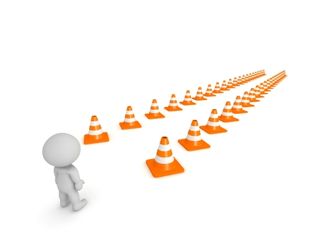 aisle: 3D Character and Path marked by Orange Cones Stock Photo